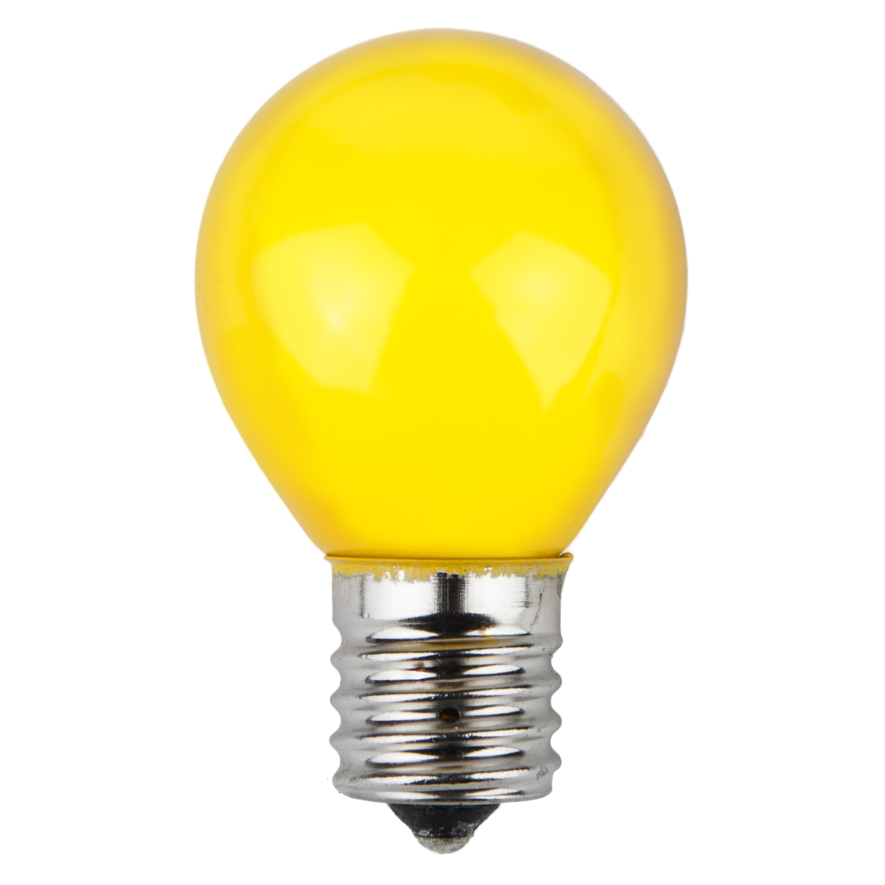 E17 Patio and Party Light Bulbs - S11 Opaque Yellow, 10 Watt Replacement Bulbs
