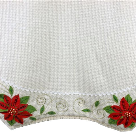 Cream Poinsettia Tree Skirt