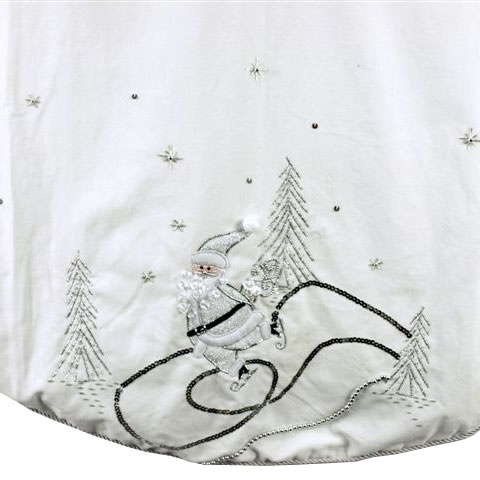 White Skating Santa Tree Skirt