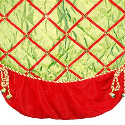 Green and Red Tree Skirt with Bells