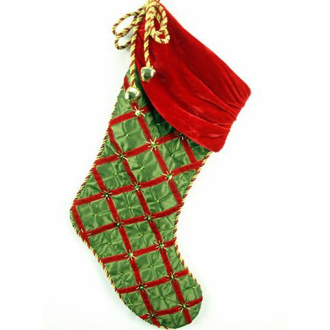 Green and Red Satin Stocking with Bells