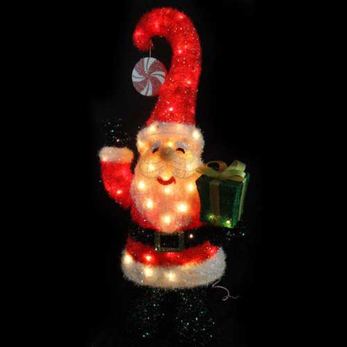 3D Lighted Santa Yard Art