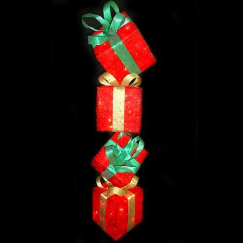 Red Sisal Gift Box Tower Yard Art