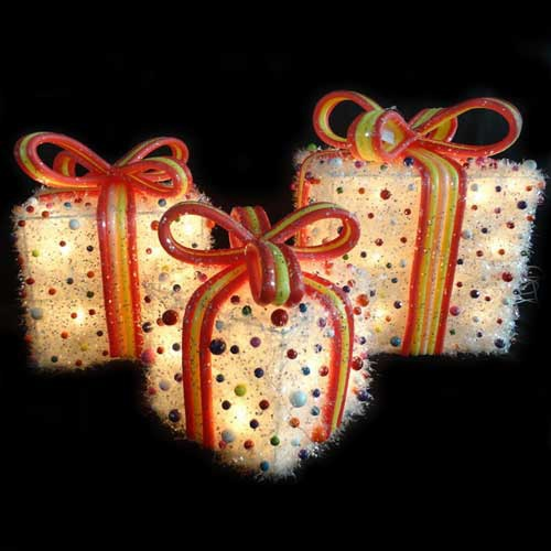 White Tinsel Gift Boxes Yard Art