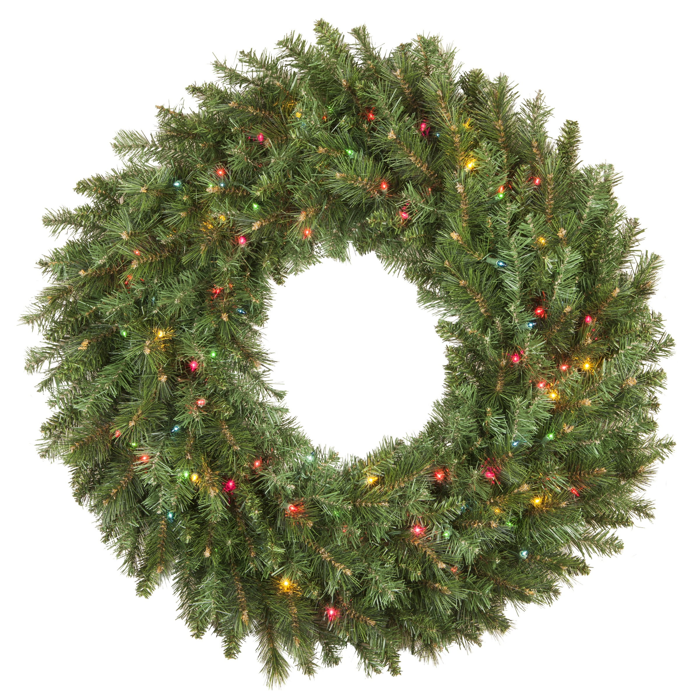Prelit Multicolor Brighton Fir Artificial Wreath