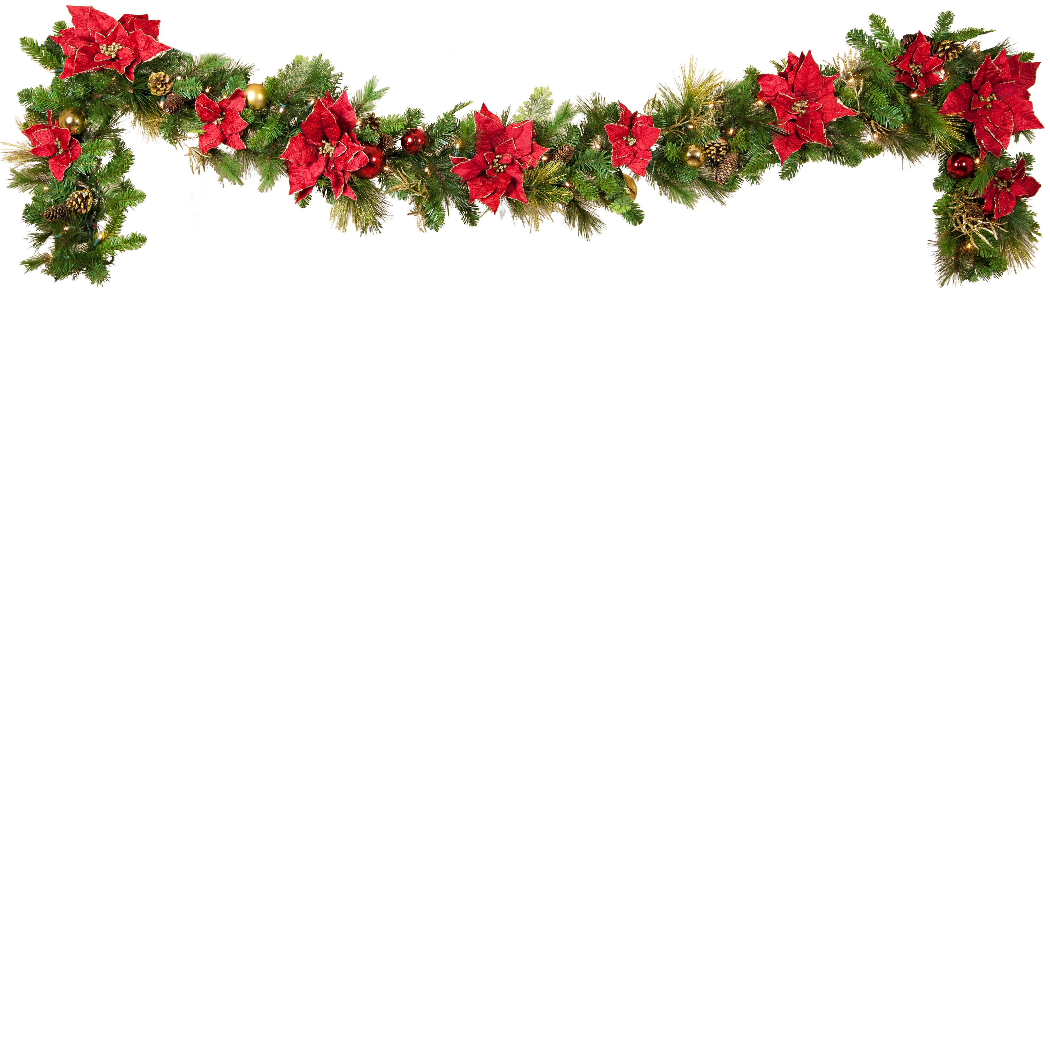 Poinsettia Battery Operated Christmas Garland