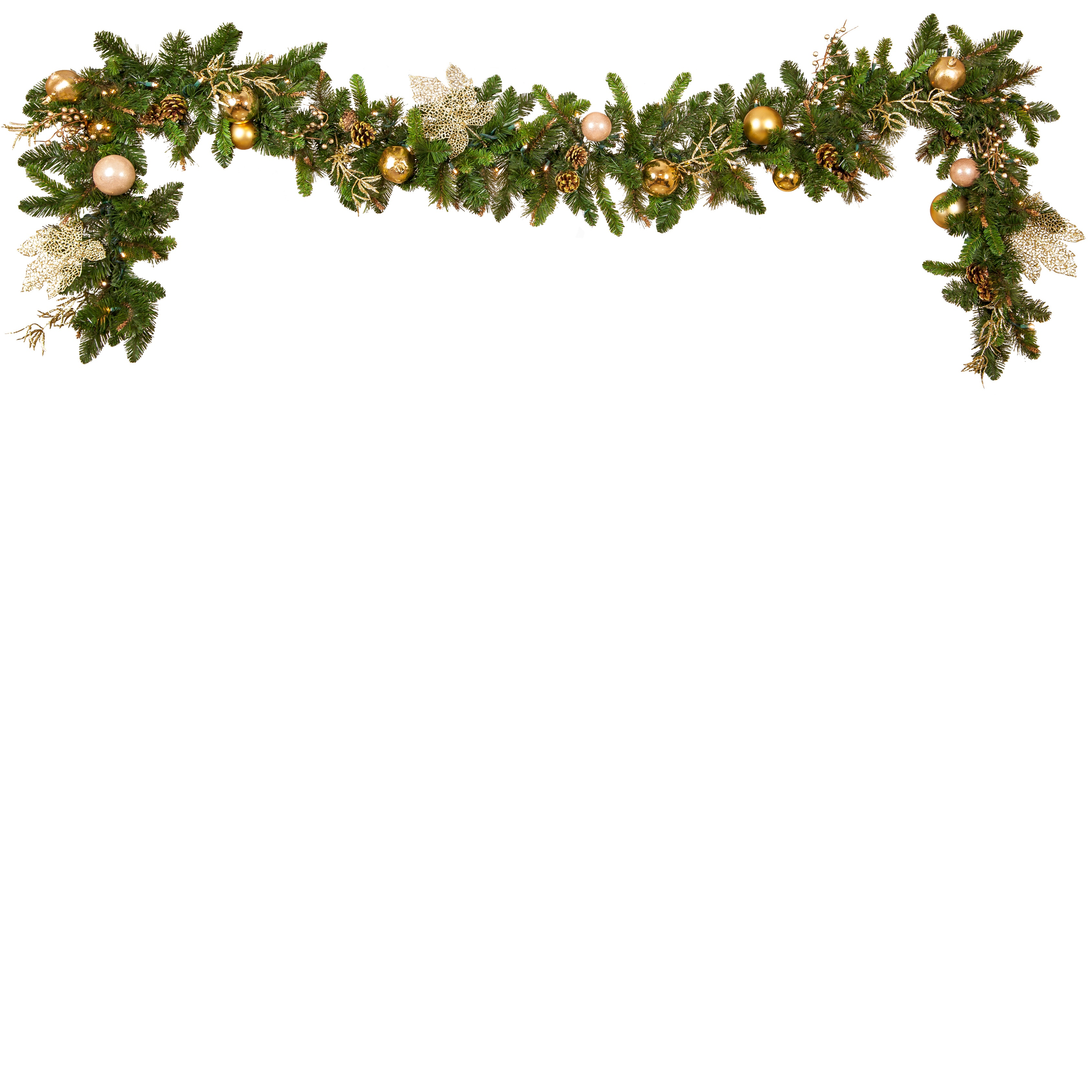 Gold decorated battery operated led christmas garland
