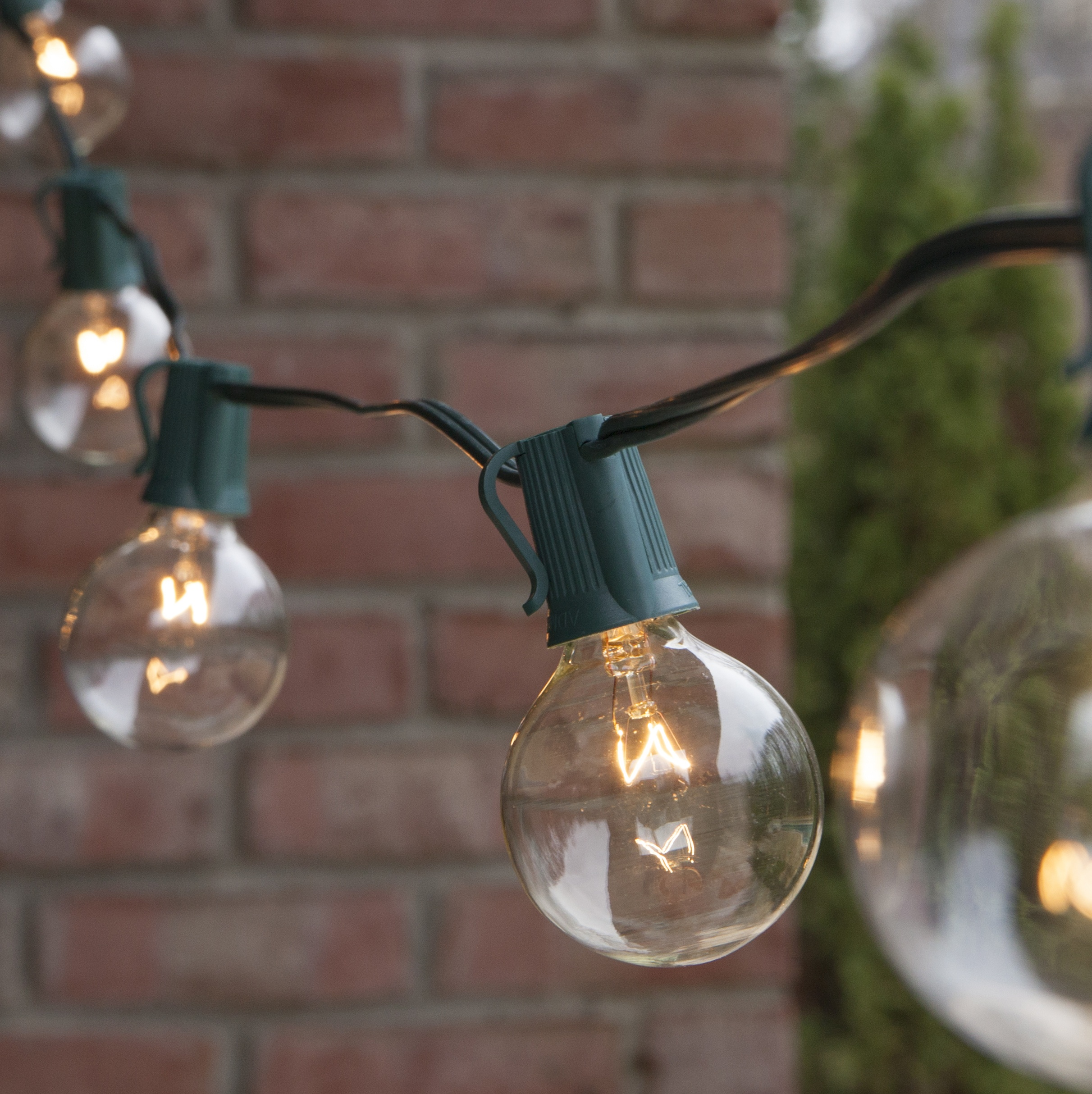 Outdoor String Lights Large Bulbs : Patio Lights - Commercial Clear Globe String Lights, 25 G50 E17 Bulbs Green Wire