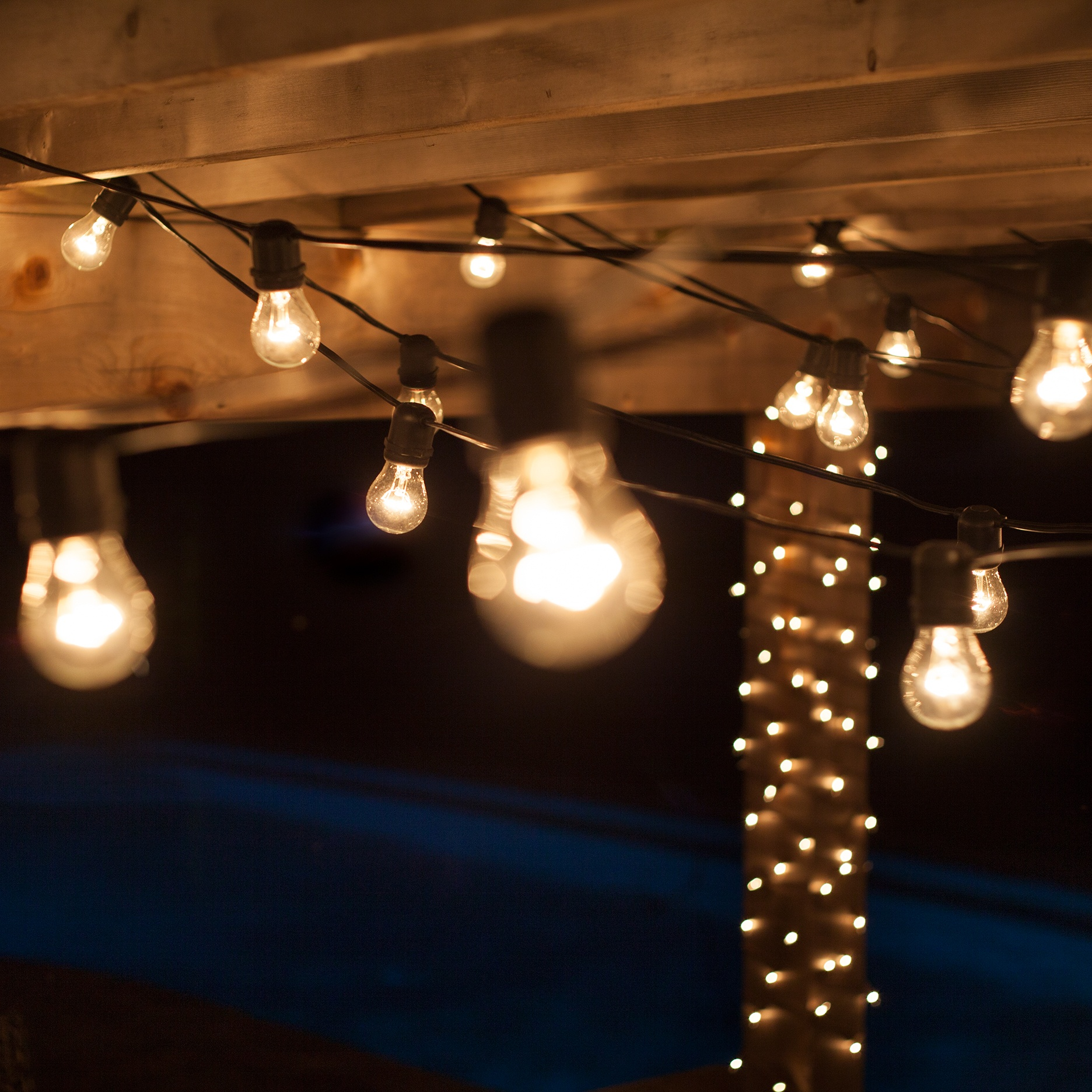 Patio Lights - Commercial Clear Patio String Lights, 24 A15 E26 Bulbs Black Wire