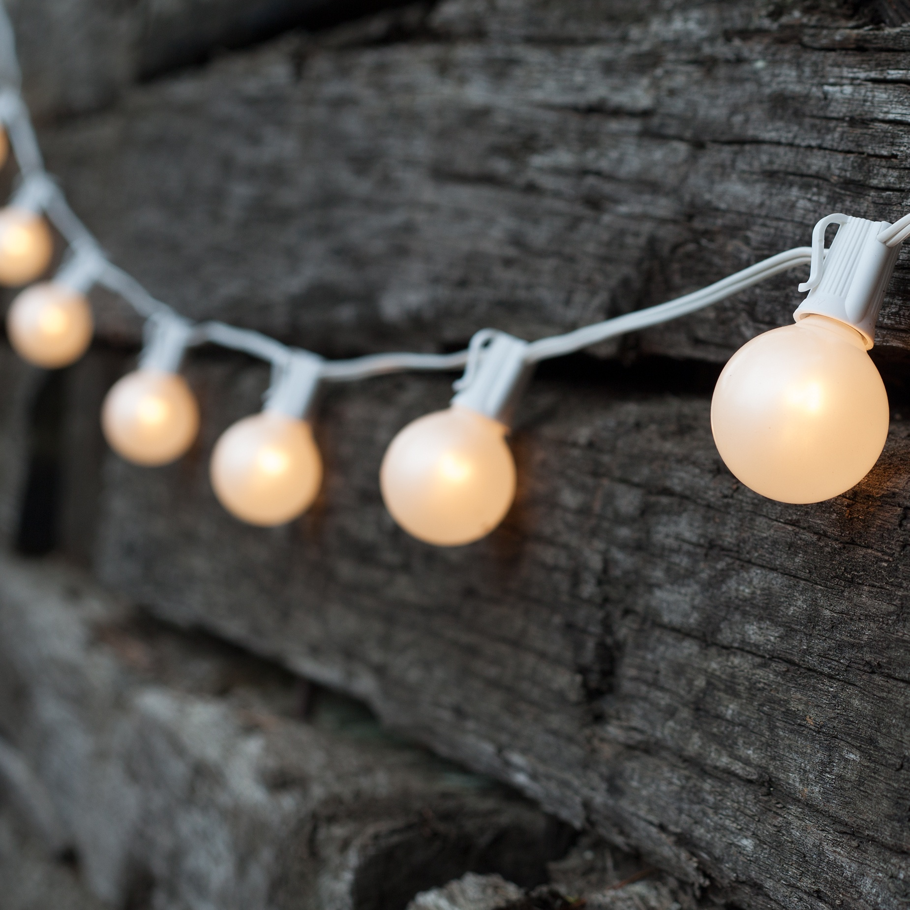 Globe String Lights White Cord : Patio Lights - Commercial White Satin Lights, 25 G50 E17 Bulbs White Wire