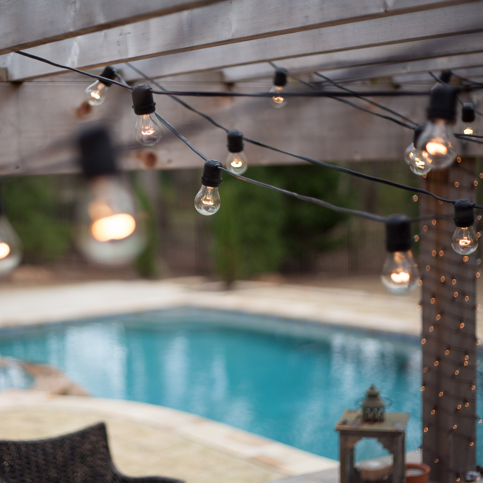 String Lights For Outside : Patio Lights - Commercial Clear Patio String Lights, 24 A15 E26 Bulbs Black Wire