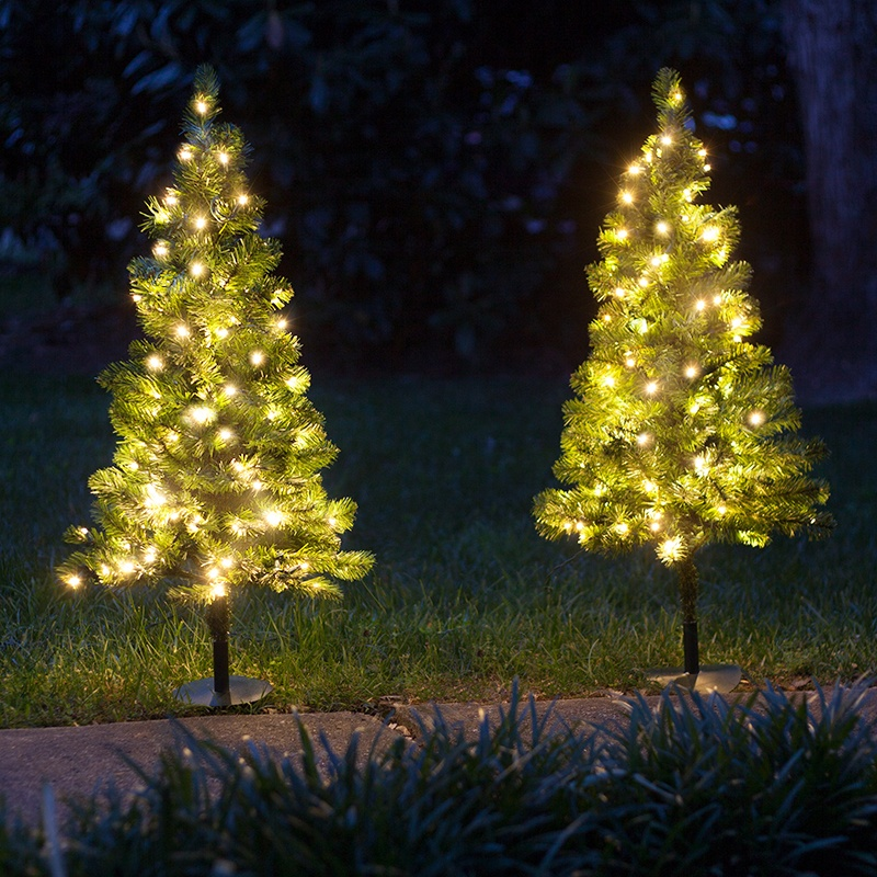 Outdoor decorations 2 39 walkway pre lit winchester fir for White outdoor christmas decorations