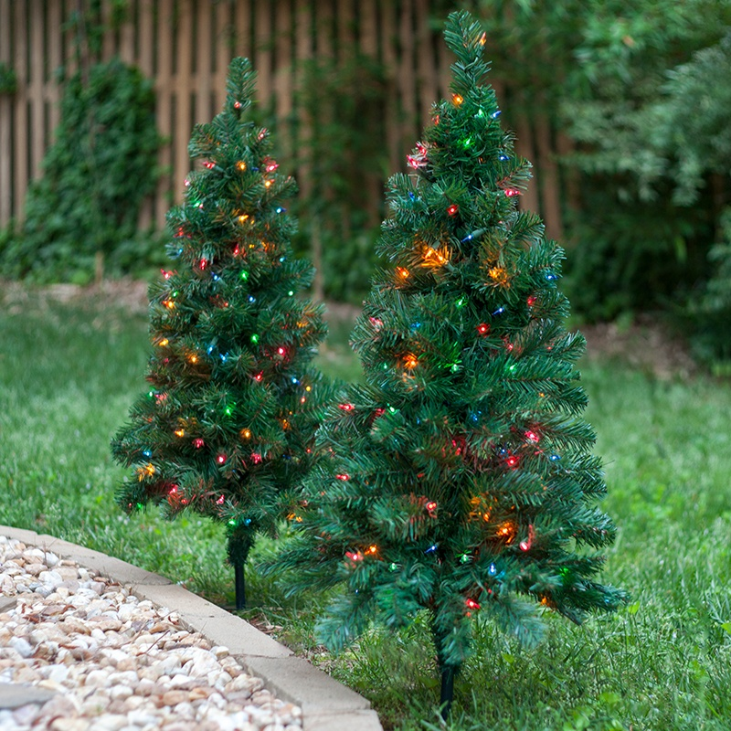 Outdoor Decorations 2 Walkway Pre Lit Winchester Fir Tree 50 Warm White Led Lamps