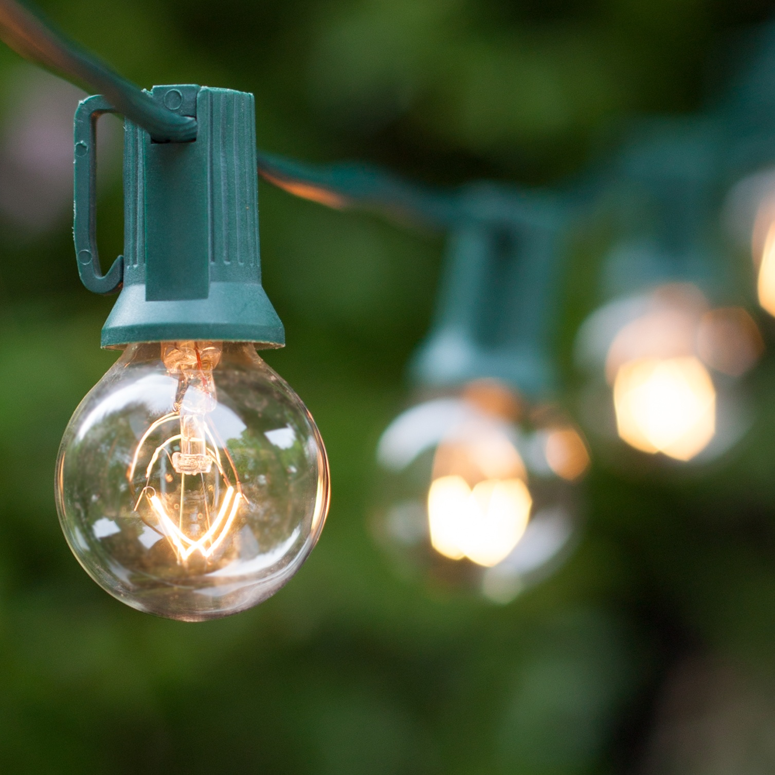 Clear Globe Patio String Lights : Patio Lights - Commercial Clear Globe String Lights, 50 G30 E12 Bulbs Green Wire