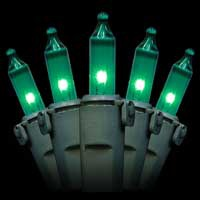 "50 Green Christmas Mini Lights, 4"" Spacing, Premium, Green Wire"
