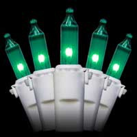"50 Green Christmas Mini Lights, 4"" Spacing, Premium, White Wire"