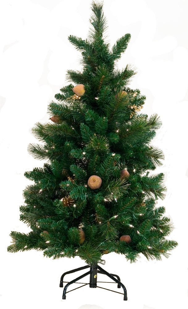 4' Green Prelit Decorative Harvest Gold Tree