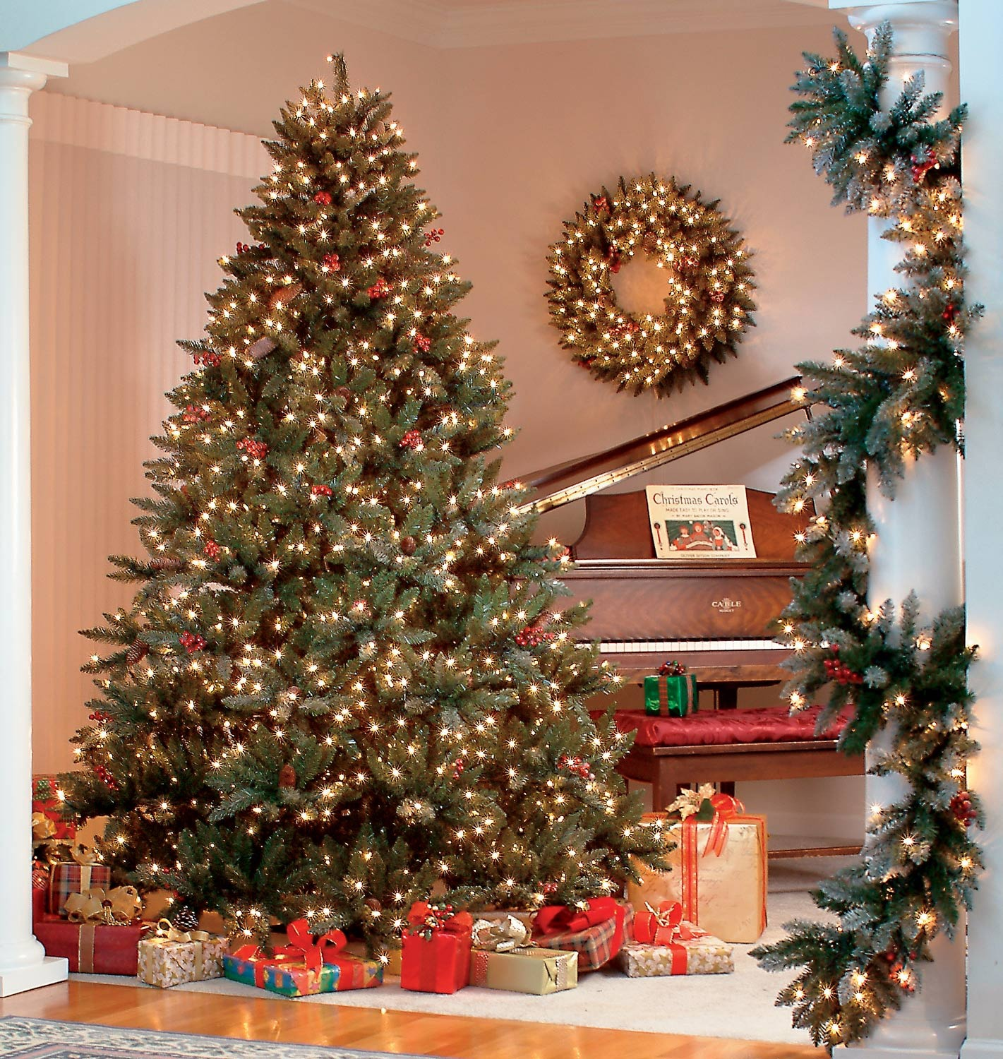 8.5' Full Pre-Lit Hawthorne Fir Tree, 1300 Clear Lamps