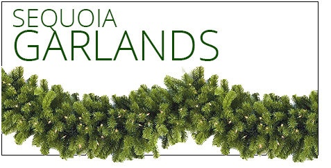 "9' x 18"" Pre-Lit Sequoia Pine Commercial Garland, 100 Clear Lamps"