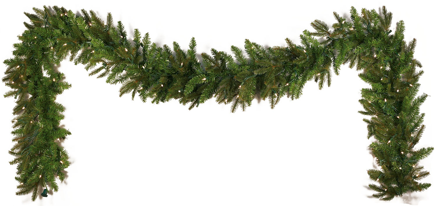 "9' x 14"" Pre-Lit Fraser Fir Garland, 100 Clear Lamps"
