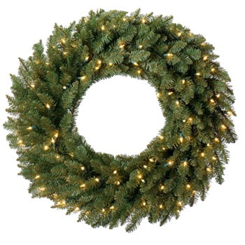 "24"" Pre-lit Douglas Fir Artificial Christmas Wreath, Multicolor Lights"