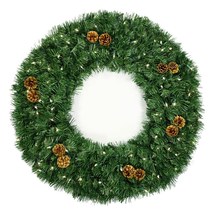 "24"" Pre-lit Winchester Fir Christmas Wreath, Clear Lights"