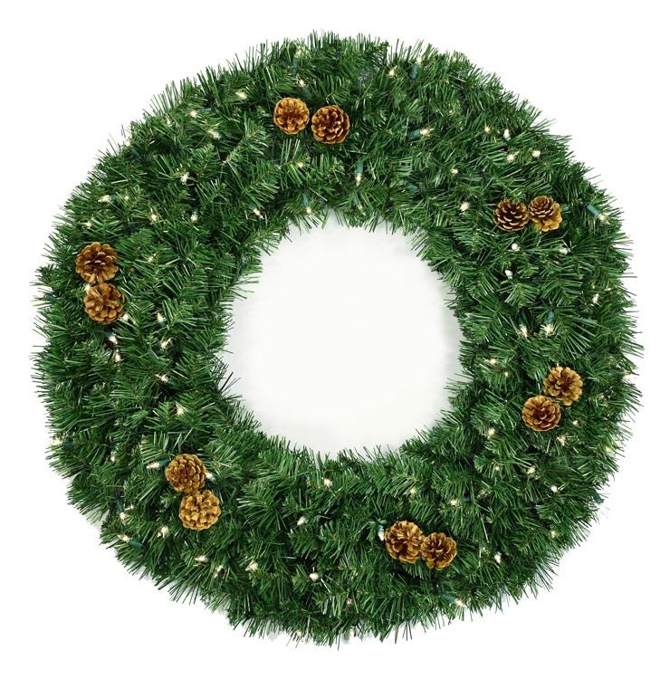Pre lit winchester fir artificial christmas wreath multicolor lights