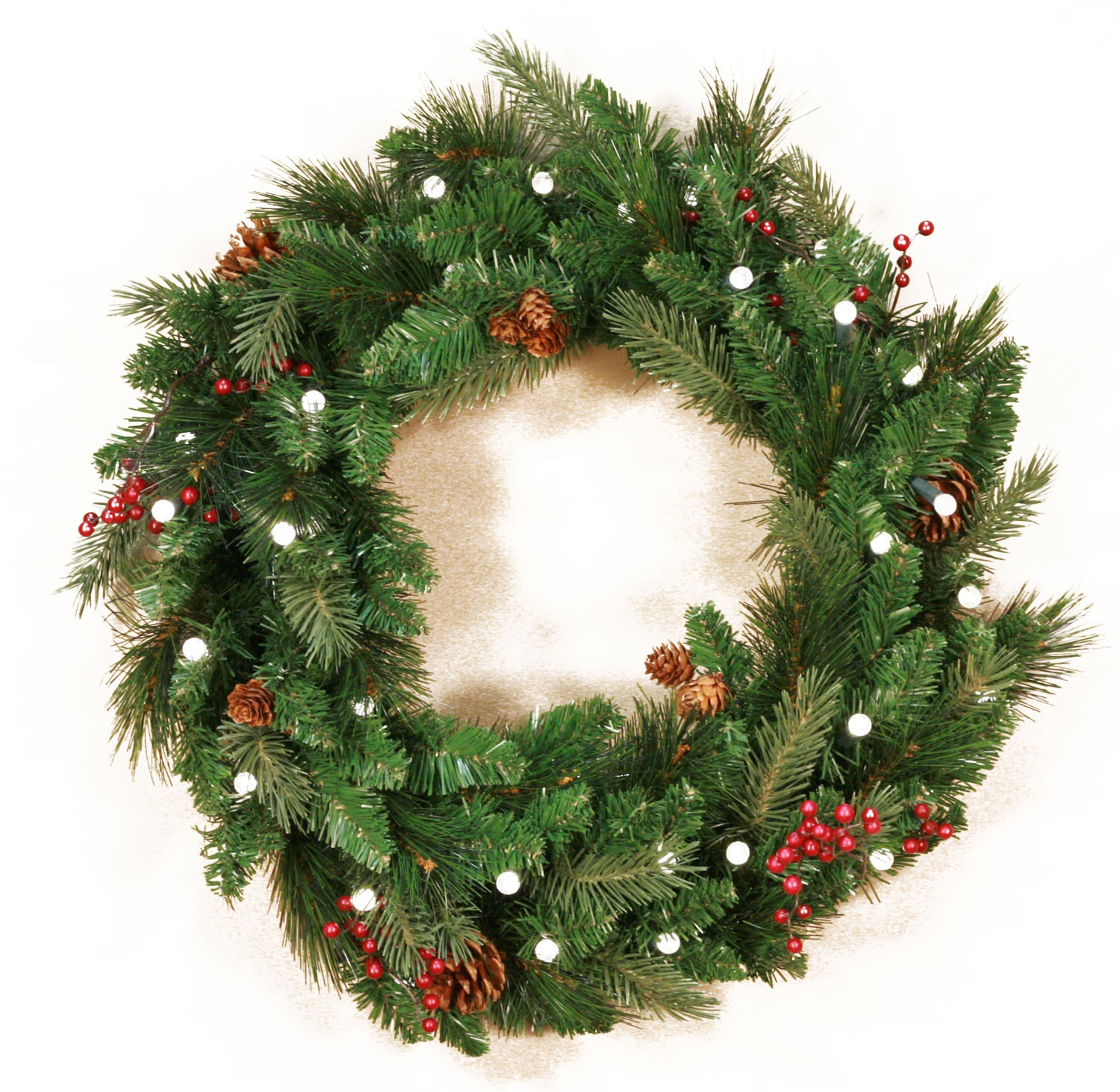 Mixed White Spruce Battery Operated LED Wreath, Warm White Lights