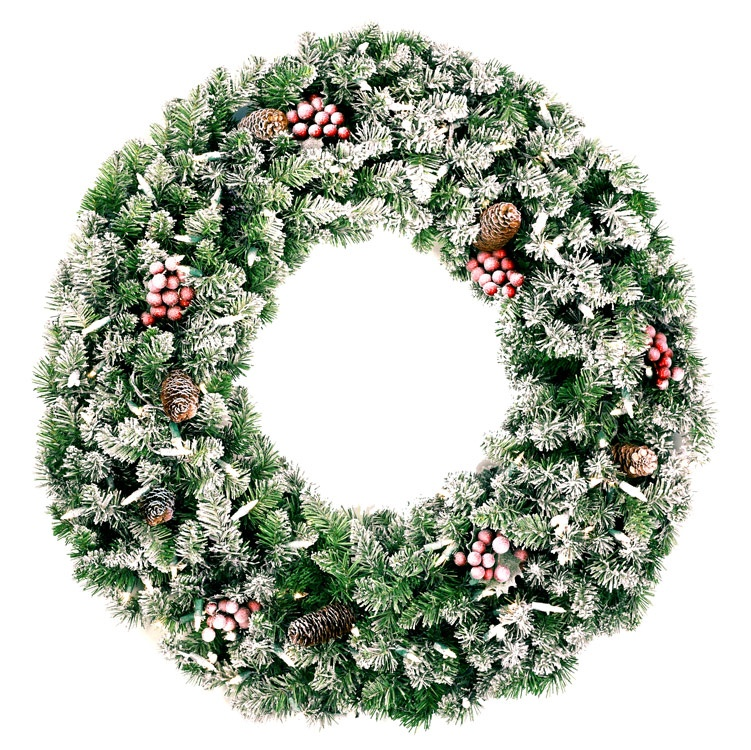 "30"" Pre-lit Frosted Hawthorne Fir Christmas Wreath, Clear Lights"
