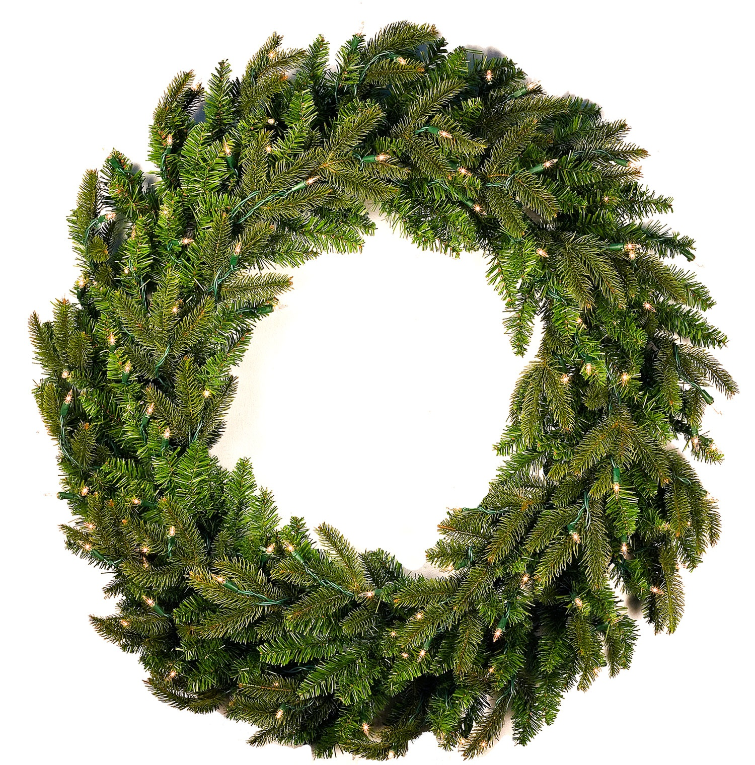 Fraser Fir Prelit Christmas Wreath, Clear Lights