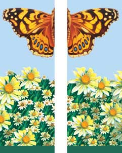 "Butterfly and Daisies Light Pole Banner 30"" x 94"""