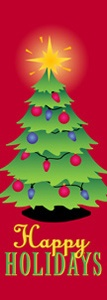 "Christmas Tree Light Pole Banner 30"" x 94"""