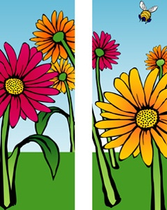 "Gerber Daisies Light Pole Banner 30"" x 84"""