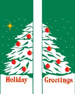 "Double Holiday Tree Light Pole Banner 30"" x 60"""
