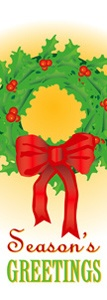 "Wreath and Bow Light Pole Banner 17"" x 46"""