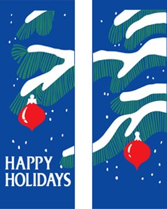 "Tree Branches and Ornaments Light Pole Banner 30"" x 84"""
