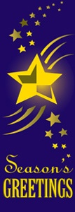 "Purple Star Season's Greetings Light Pole Banner 30"" x 94"""