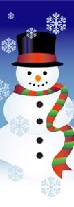 "Snowman and Snowflakes Light Pole Banner 30"" x 94"""