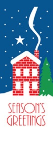 "Winter House Light Pole Banner 30"" x 84"""