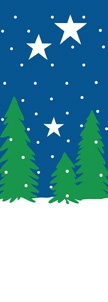 "Winter Trees and Stars Light Pole Banner 30"" x 84"""