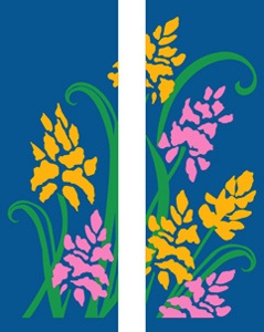 "Yellow and Pink Flowers Light Pole Banner 30"" x 94"""