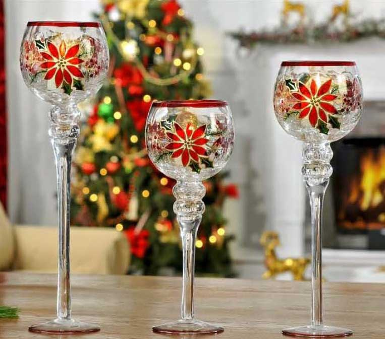 Poinsettia Glass Hurricane Candle Holders - Set of 3