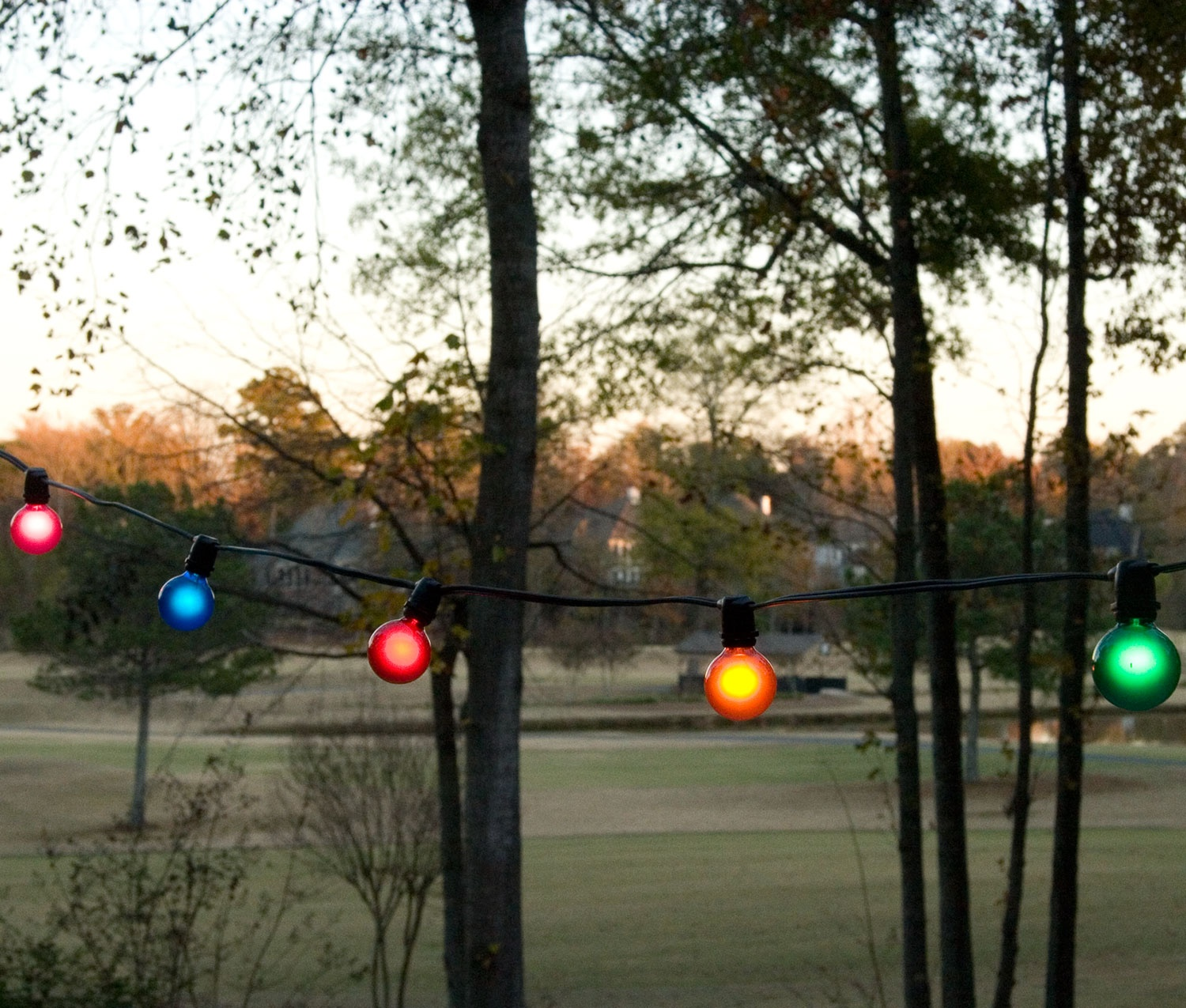 String Lights Across Patio : C9 Christmas Lights - 100 C9 Commercial Patio Light Stringer, SPT2 Black Wire, 15
