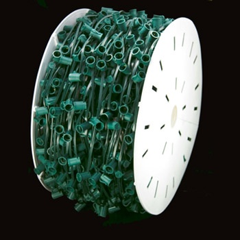 "C9 E17 Light Spool, 1000' Length, 18"" Spacing, SPT1 7 Amp Green Wire, Commercial Grade"