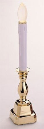 "12"" LED Battery Operated Stowe Brass Candle"