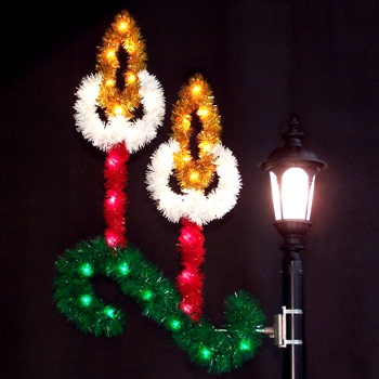Outdoor christmas decorations 5 39 double candle with garland for Outdoor christmas candles