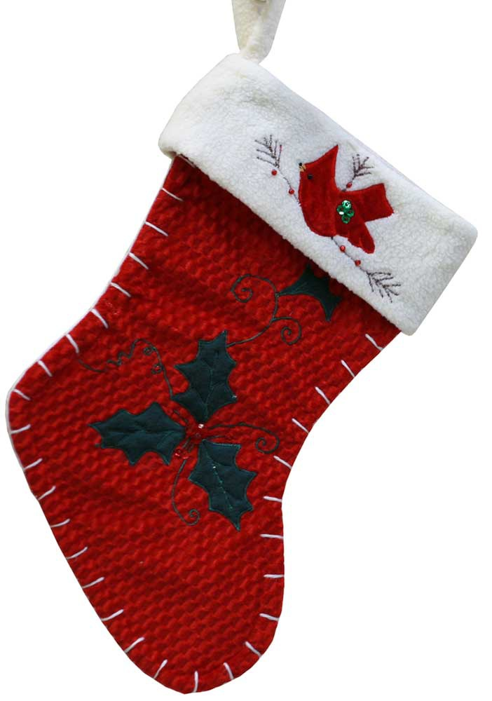 "15"" Red Cardinal Christmas Stocking"