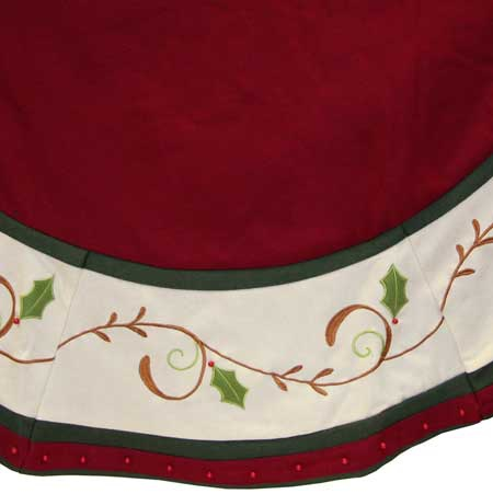 "56"" Burgundy Tree Skirt with Holly Trim"