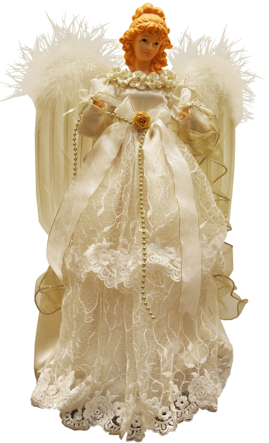 "16.5"" Ivory and Gold Angel Tree Topper"