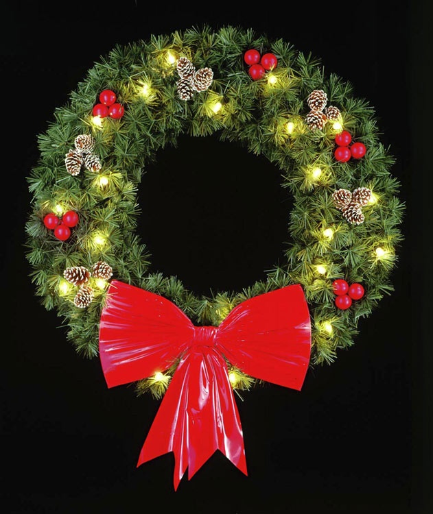 6' Rocky Mountain Pine Wreath, Building Front, Clear Lamps